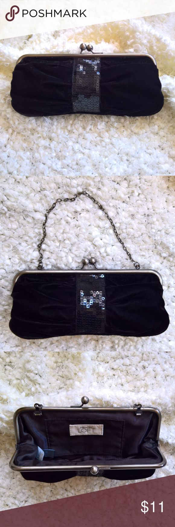 """Anne Taylor LOFT Velvet Clutch with Sequins Anne Taylor LOFT black velvet clutch. Sequin accent. Metal frame and clasp. 5"""" drop on chain. 8""""x4"""". Anne Taylor LOFT Bags Clutches & Wristlets"""