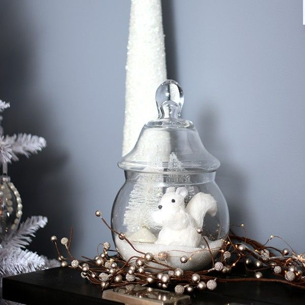 White Sisal Squirrel in Pastels and Pearls Christmas