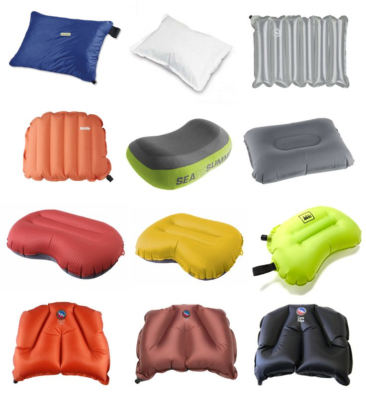 ultralight inflatable pillow gear guide. I've tried many of these and my absolute fav is the red or yellow Exped pillows (third row down, left and middle).  They provide great stability for the head, they're super lightweight, easy to clean, and they last forever.
