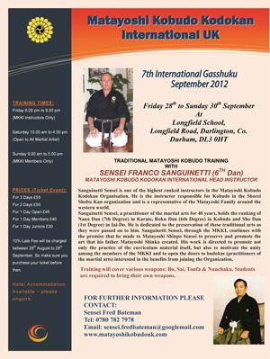 Matayoshi Kobudo Kodokan International UK 7th Annual Gasshuku  28th to 30th September 2012     http://www.kodokan.org.uk/matayoshi-kobudo-gasshuku/