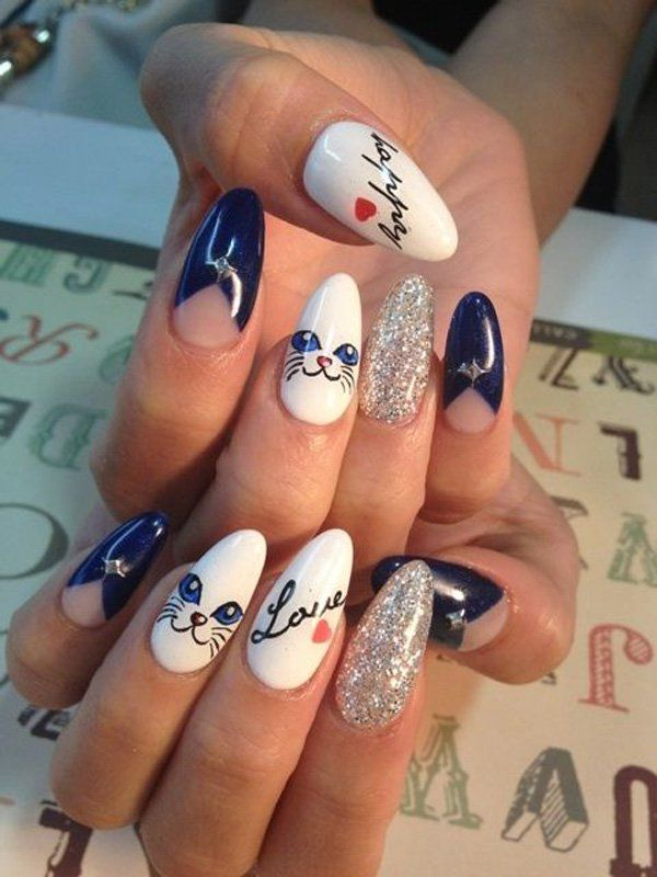 Is this design cool? Kitty on stiletto nail