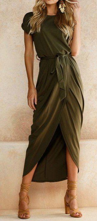 #fall #outfits women's green maxi dress