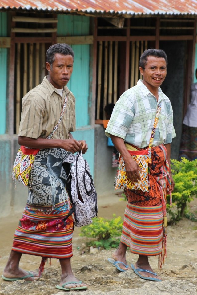 Nusa Tenggara Timur or East Nusa Tenggara local men-smiling in their homey traditional wear, Soe, NTT