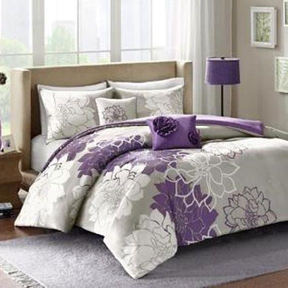 Comforter Bedspread Set Queen Size Bed Cover Shams Purple Floral Bedroom Pillows #Matec