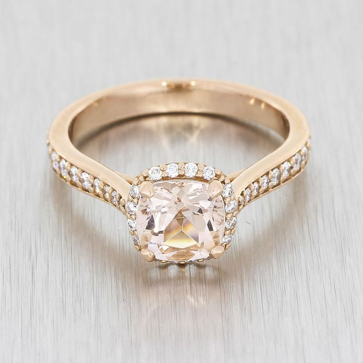 Rose Gold And Morganite Halo Ring #bespokeengagementring