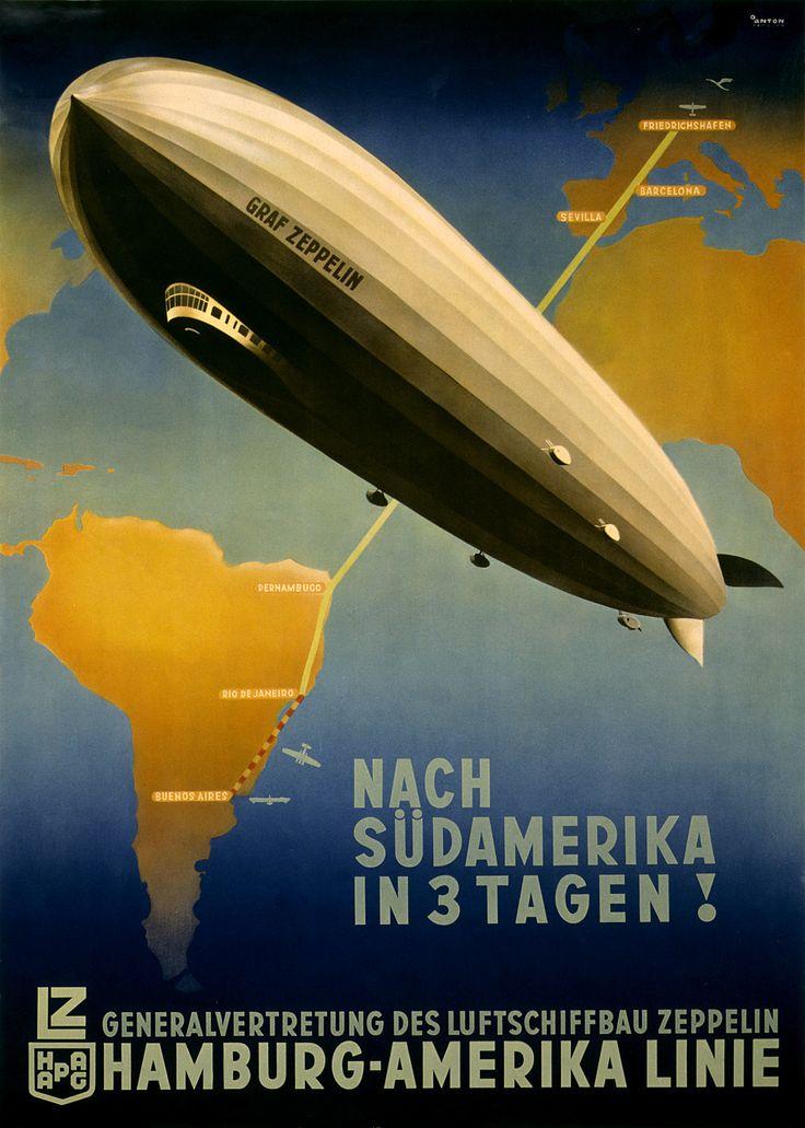 Vintage Travel Poster Graf Zepplin Germany South America