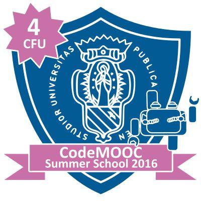 il Badge che attesta il conseguimento dei crediti formativi presso l'Università di Urbino ottenuti per il completamento di CODEMOOC: Coding in your classroom New del prof. A.Bogliolo