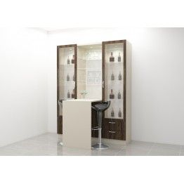 Extensive bar cabinet with spacious glass door cabinets. Made up of plywood with laminate finish. This bar unit is paired with a table and replicates a social bar at home. Bring home a perfect with this bar cabinet. Customize this as per your accordance and room space and get it organized at home.