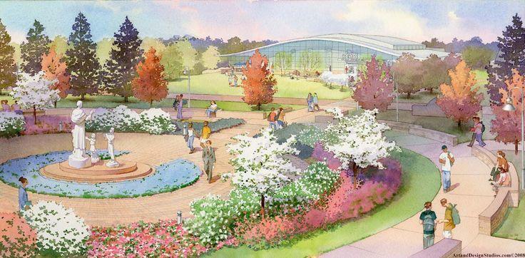 Architectural Illustration College Masterplan Garden