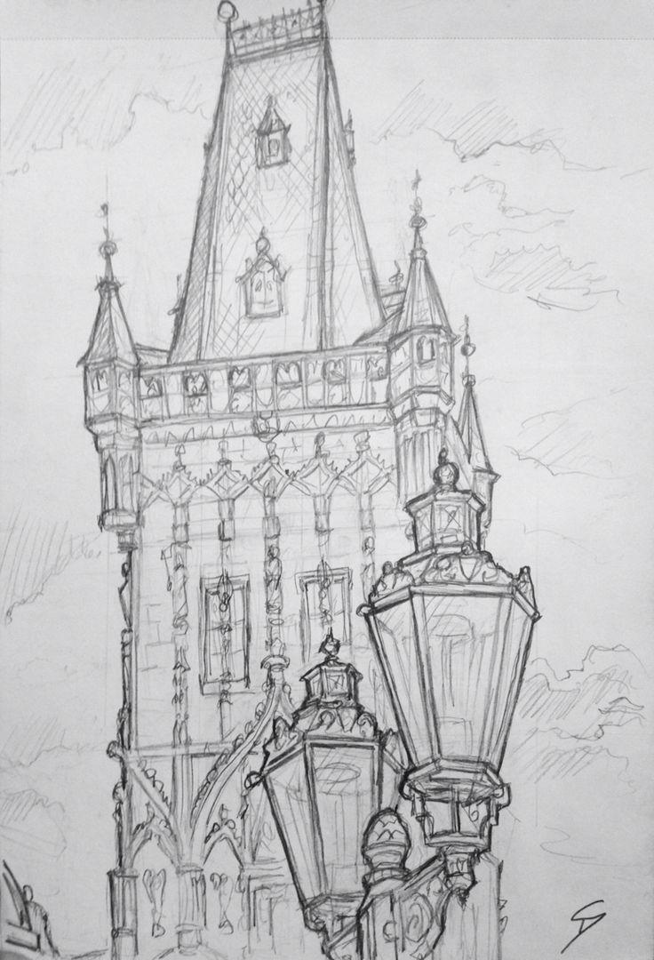 Quick Sketch Prasna Brana Prague View Of The Powder Tower