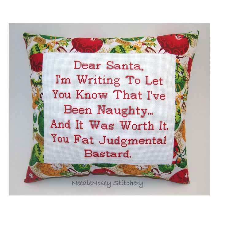 Funny Cross Stitch Christmas Pillow, Red Pillow, Dear Santa Quote. $23.00, via Etsy.