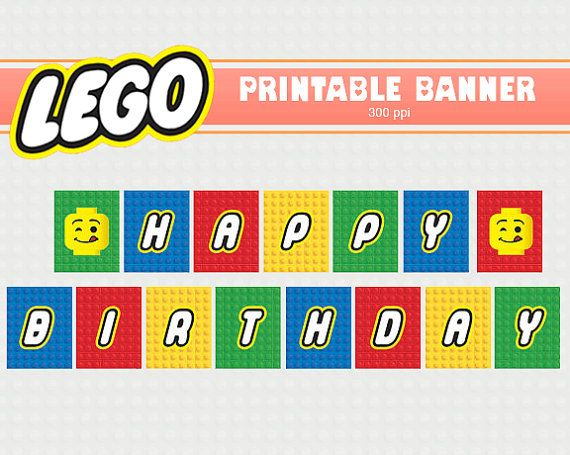 LEGO banner - Printable - Clipart - Digital Scrapbooking Paper - Scrapbook - Birthday Party Decor - Birthday Party - Lego The Movie