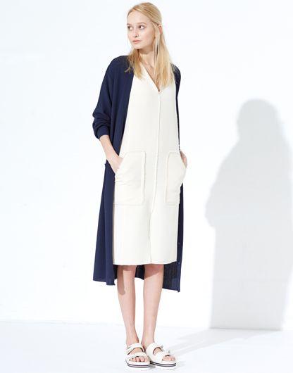 LE CIEL BLEU Long Cardigan and W georgette dress