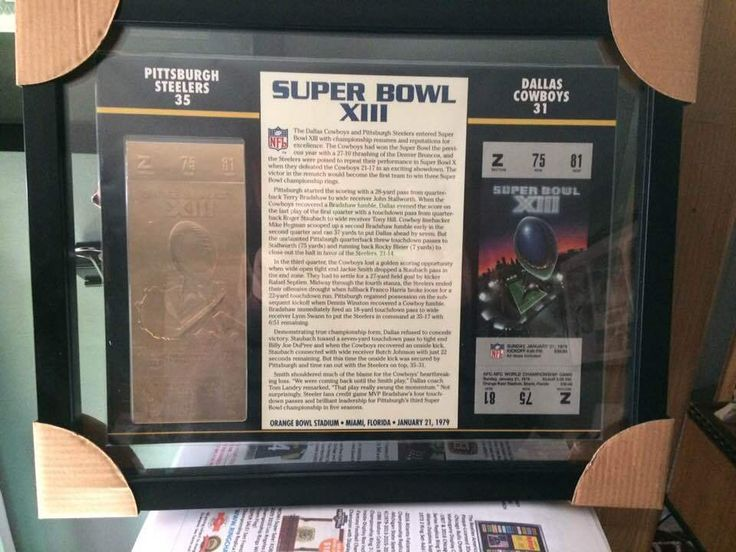 NFL STEELERS/COWBOYS WILLABEE & WARD SUPER BOWL XIII TICKETS 22K GOLD FRAMED  #RingChampsUSA #PittsburghSteelers #steelers