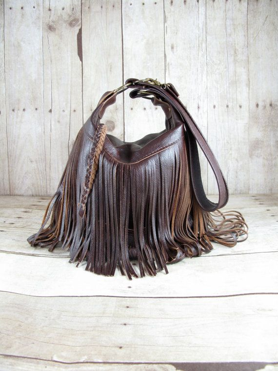 Brown Leather Bag Small Cross Body Fringe Purses