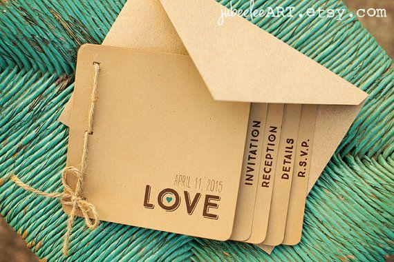 Booklet style rustic modern printable wedding invitation. Printed book wedding invitation. Barn wedding invitation.