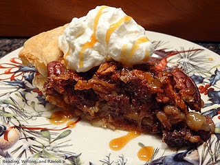 Bourbon-Spiked Chocolate Chip Pecan Pie with Salted Caramel Sauce