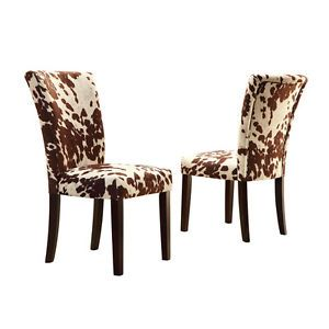 Merveilleux Classic Country Rustic Faux Cow Hide Animal Print Accent Dining Chair Set  (2)