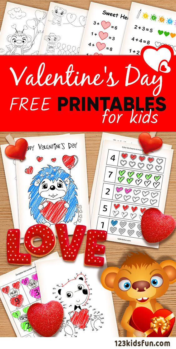 Valentine's Day - free worksheets and printables for kids. Colour in, connect the dots, match the picture to the word and more. #valentines #day #worksheets #printables #free #kids #coloring #123KidsFun