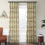 Exclusive Fabrics & Furnishings Royal Gate Sage Green and Amber Flocked Faux Silk Curtain – 50 in. W x 96 in. L, Royas Gate Sage & Amber