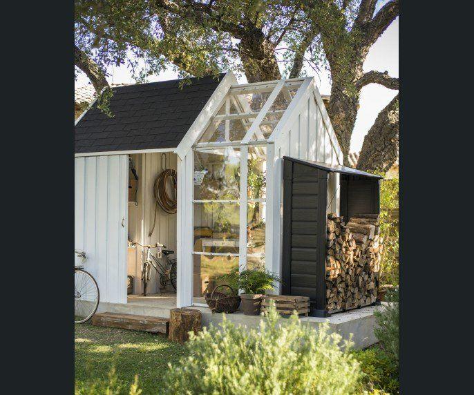 Abris de jardin avec serre int gr e cabane jardin for Leroy merlin serre jardin