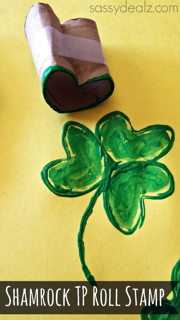 shamrock toilet paper roll craft - would be cool to fill in the shamrock with fingerprints