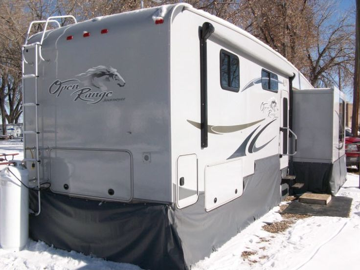 Open Range Trailer Skirt. It may not look great but it will keep you from freezing up and using so much propane!