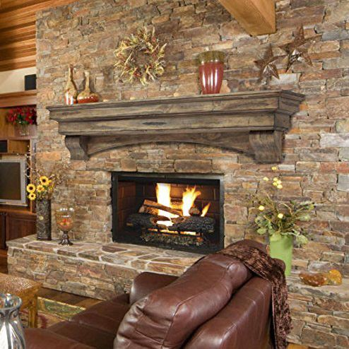 "Pearl Mantels 48"" Mantel Shelf Celeste Dune Pine 3pc 497-48-10 Decorating your electric fireplace, wood fireplace, bio-ethanol fireplace, or any other kind of fireplace with this 48 inch mantel shelf"