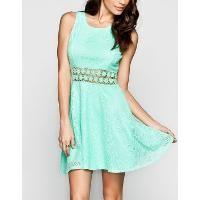 Full Tilt Crochet Inset Lace Overlay Dress Mint   Find.com