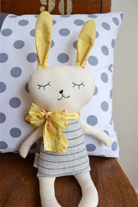 Yellow and Grey Bunny softie, soft toy