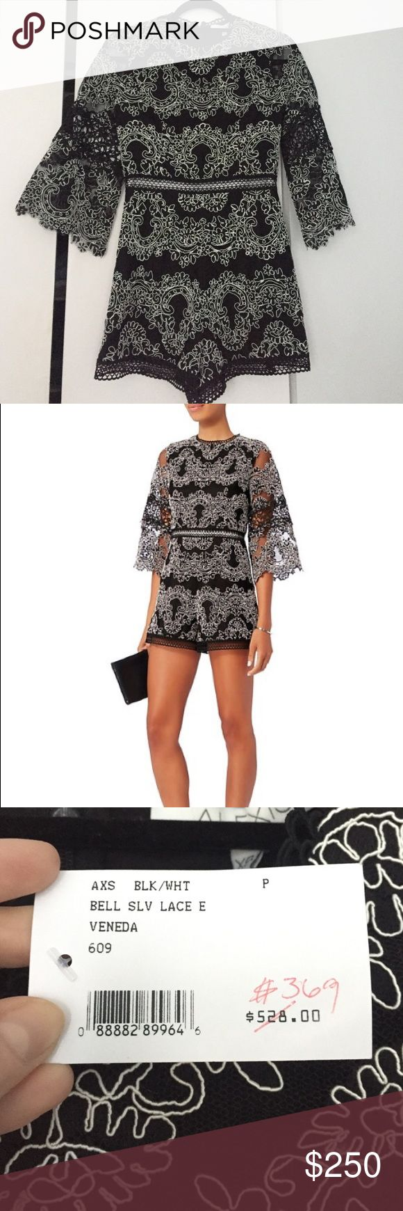 Alexis Veneda Bell Sleeve Lace Romper Gorgeous lace romper by Alexis. Just bought it from Intermix at a great price and have never worn it. I love it, but bought it for an occasion that I decided I'd rather wear a dress to. It's a size P, which is an XS equivalent. Alexis Dresses Long Sleeve