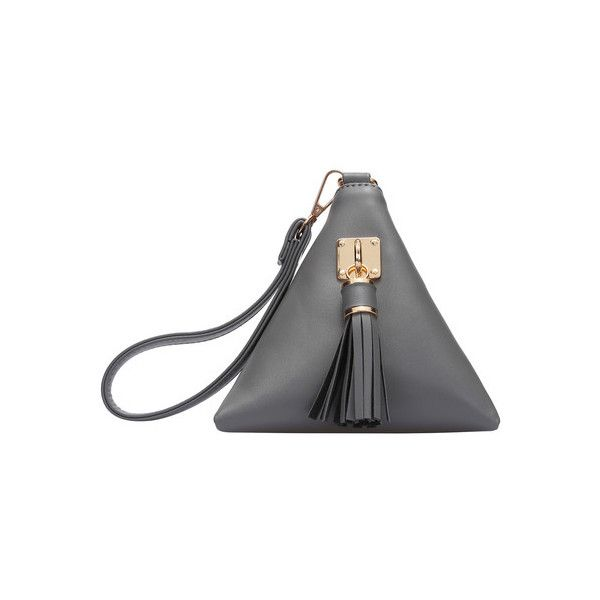 Grey Tassel Triangle PU Clutch Bag ($17) ❤ liked on Polyvore featuring bags, handbags, clutches, grey handbags, pu purse, gray purse, grey purse and polyurethane handbags