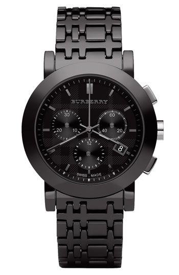 Burberry Men's Chronograph Watch w/Ceramic Bracelet.... love the look on women