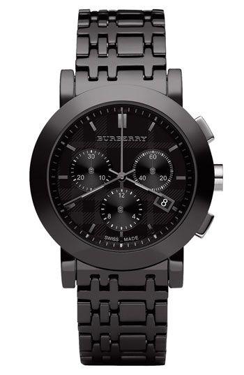 Burberry Men's Chronograph Watch w/Ceramic Bracelet.... love the look on women