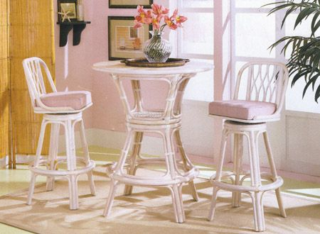 Oasis White Rattan And Wicker Pub Set And Bar Stool From Tickle Imports