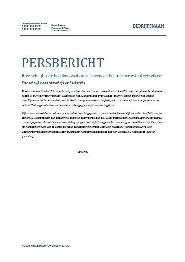 Voorbeeld Persbericht, om een nieuwsbericht te laten plaatsen in de krant