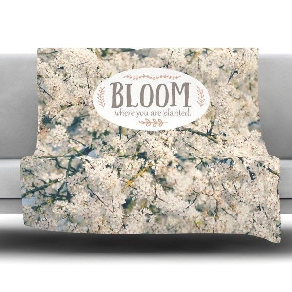 Bloom Where You Are Planted Fleece Throw Blanket