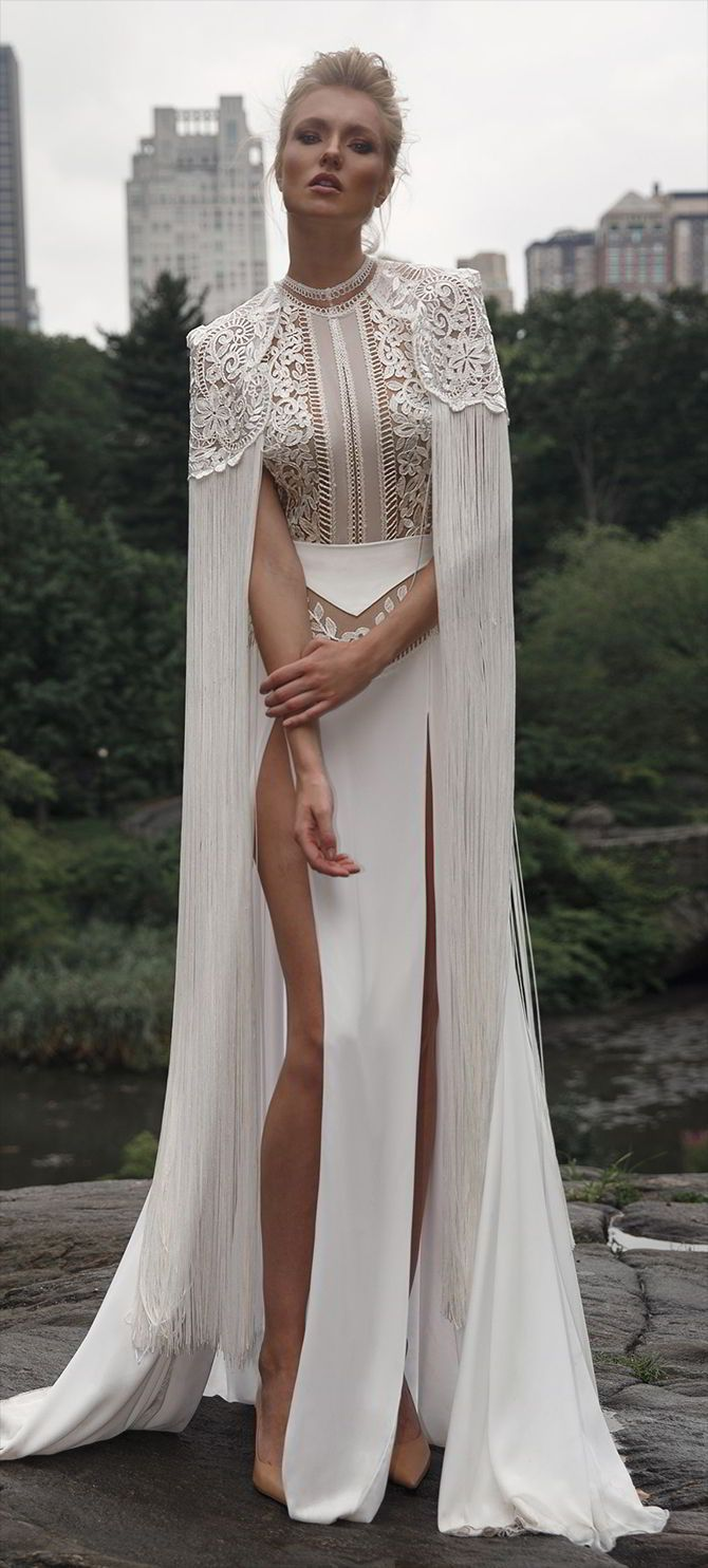 Seen with matching cape. Gorgeous. Wear a long slip or underskirt with it. Even if it's lace or moderately transparent, like chiffon, organza or tulle,  you're modestly covered yet still sexy.