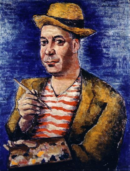 """John Dos Passos as a Sunday painter by Luis Quintanilla from his series """"Writers as They See Themselves"""""""