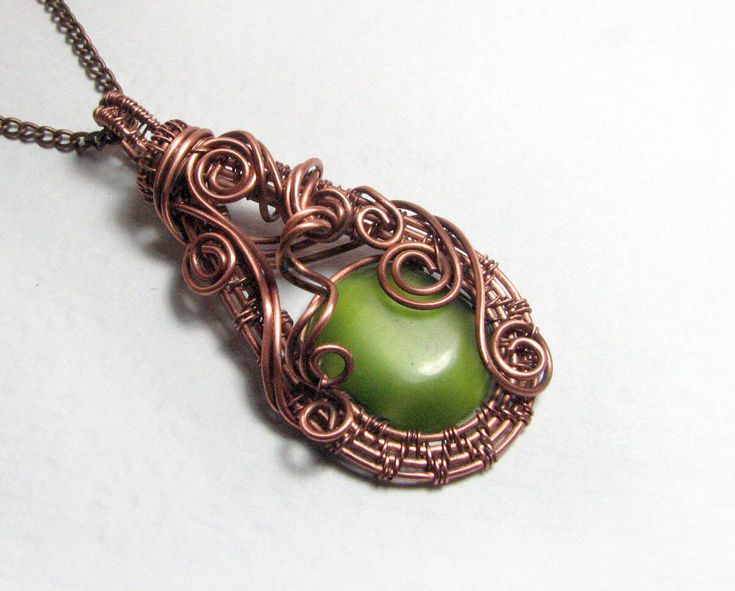 Copper pendant with green stone cat's eye.A gift to his wife on 7th anniversary, copper wedding.Handmade.Wire wrapped pendant.Pendant Boho. by NatalkaArtCopper on Etsy https://www.etsy.com/listing/526744459/copper-pendant-with-green-stone-cats