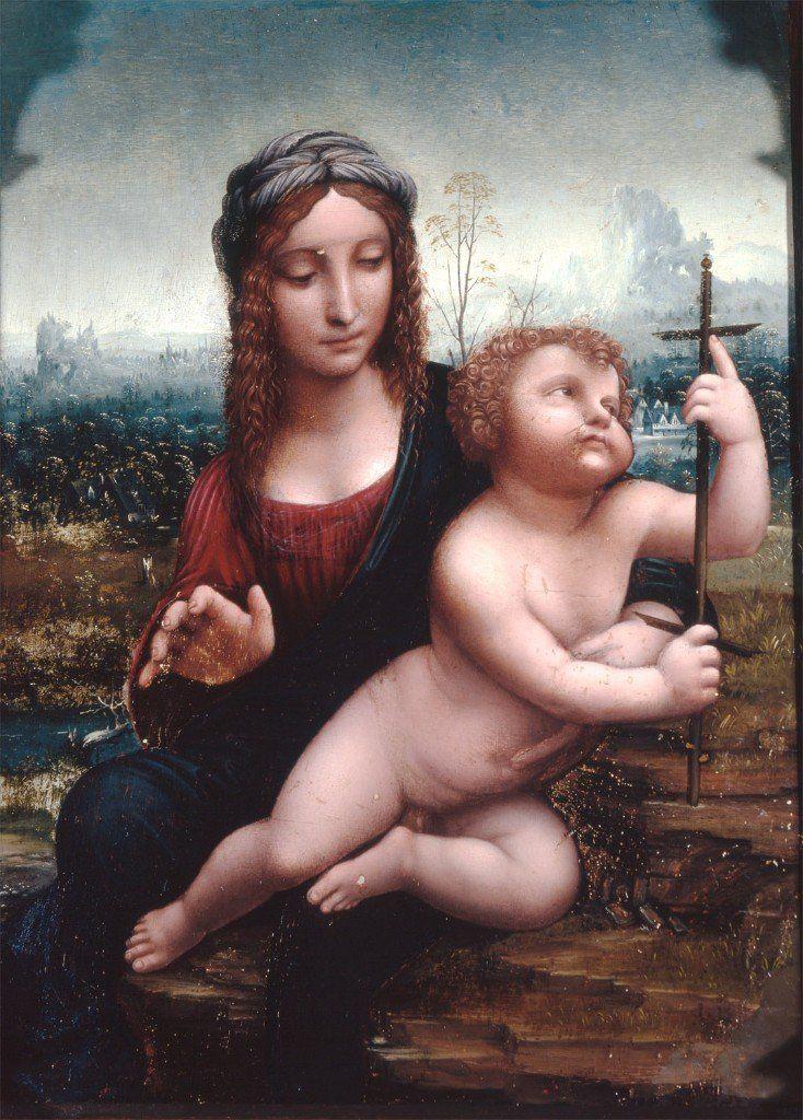 La Virgen del huso de la tradición de Leonardo da Vinci, describe, junto a Filippino Lippi, a María en amoroso recogimiento maternal.