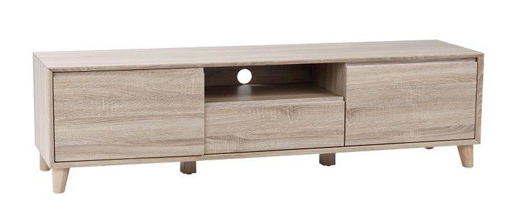 Sam+TV-bord+-+Eg+-+Moderne+TV-bord+i+hvidvasket+egetræ.+TV-bordet+er+fremstillet+i+et+lækkert+nordisk+design,+og+har+masser+af+praktisk+opbevaringsplads.