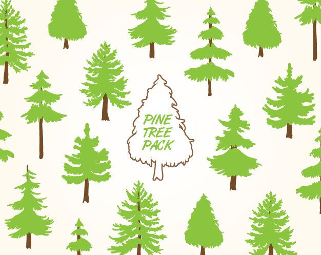 Pine Tree Clipart, Pine Tree png, Vector Pine Tree, Pine Tree Printables, Forest svg, Pine Tree svg, Pine svg, Tree Cutting File by GradientFox on Etsy
