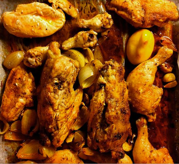 I found this Indian inspired recipe for roasted chicken on a cooking show. I remember watching it on a plane to Bali, but cannot remember the name of the show.