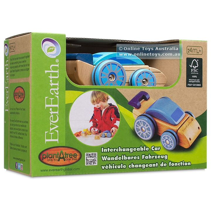 EverEarth Interchangeable Car Your child can learn how pieces fit together to make something new, as well as improving dexterity with these fast and fun cars. Parts fit together to make a racing car, digger or dump truck.. Outer Dimensions L: 13.30cm W: 9.00cm H: 9.00cm