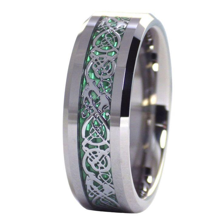 Celtic Ring   Tungsten Emerald Green Celtic Dragon Ring   Tungsten Ring #FantasyForgeJewelry #Celtic #Jewelry
