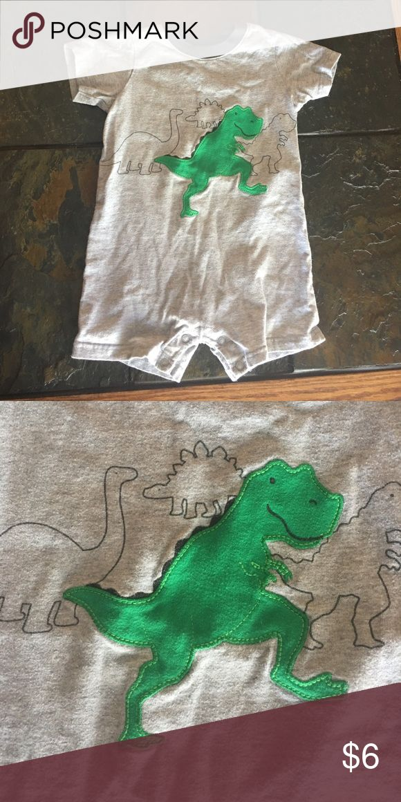 Toddler onesie Gray onesie with green dinosaur stitched on front. Gently used. Size 24 months Child of Mine Carters One Pieces Bodysuits