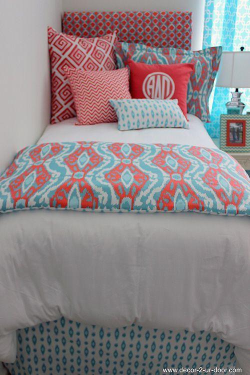 Coral  Aqua Designer Teen  Dorm Bed in a Bag  Teen Girl