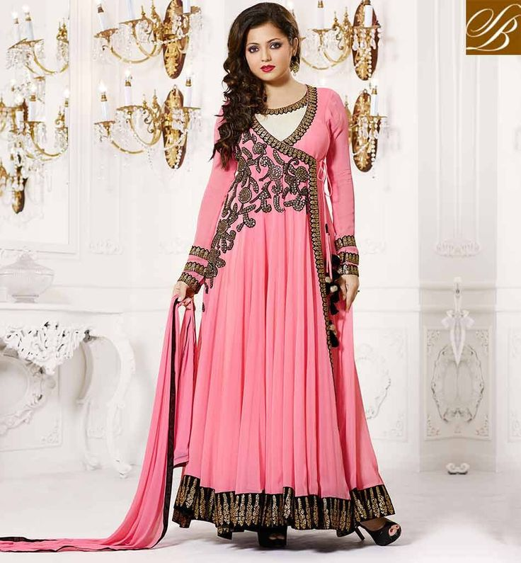 Drashti+Dhami+Georgette+Border+Work+Pink+Semi+Stitched+Long+Anarkali+Suit+-+129 at Rs 1999
