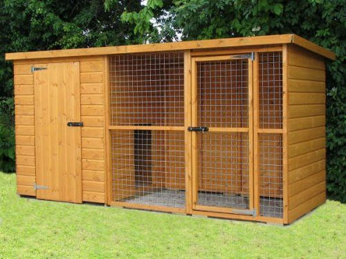 buy now   									£549.00 									 									Sussex dog kennel and run 10ft x 4ft x 5ft high. 8″ Hinges. 4″ black tower bolts. 2″ x 2″ 12 gauge galvanised mesh. Tanalised timber floor.Height  ...Read More